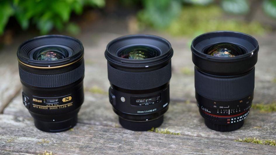 From left to right: Nikon AF-S 24/1.4G. Sigma 24/1.4 Art, Samyang 24/1.4
