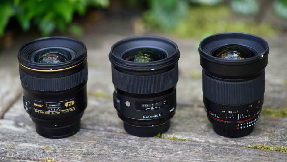 From left to right: Nikon AF-S 24/1.4G. Sigma 24/1.4 Art, Samyang 24/1.4