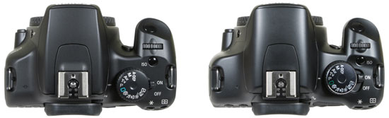 Canon EOS 1000D / XS alongside the 450D / XSi, top view
