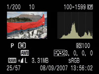 Canon 40D play histogram