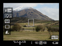 Canon 500D - LV shooting information