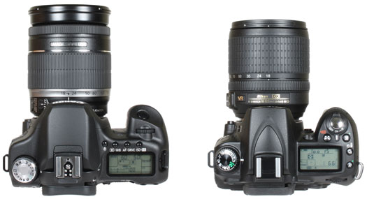 from left: Canon EOS 50D and Nikon D90 - top view