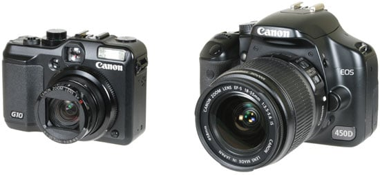 from left: Canon G10 and Canon EOS 450D