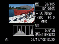 Canon PowerShot G10 - play histogram