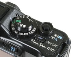 Canon PowerShot G10 - top right controls