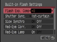 Canon PowerShot SX10 IS - built-in flash settings