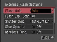 Canon PowerShot SX10 IS - external flash settings