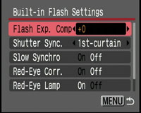 Canon PowerShot SX1 IS - built-in flash settings