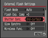 Canon PowerShot SX1 IS - external flash settings