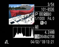 Canon PowerShot SX1 IS - play histogram