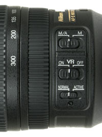 Nikkor 70-300mm VR controls