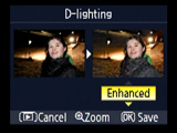 Nikon D80 D-Lighting menu