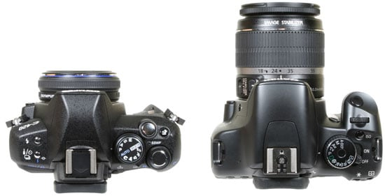 from left: Olympus E420 and Canon 450D / XSi - top view