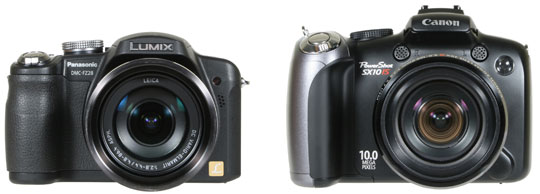 from left: Panasonic FZ28 and Canon SX10 - front view