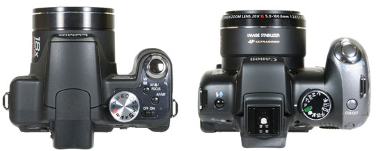 from left: Panasonic FZ28 and Canon SX10 - top view