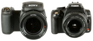 Sony Cyber-shot DSC-R1 and Canon EOS 350D front view