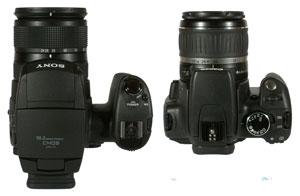 Sony Cyber-shot DSC-R1 and Canon EOS 350D top view