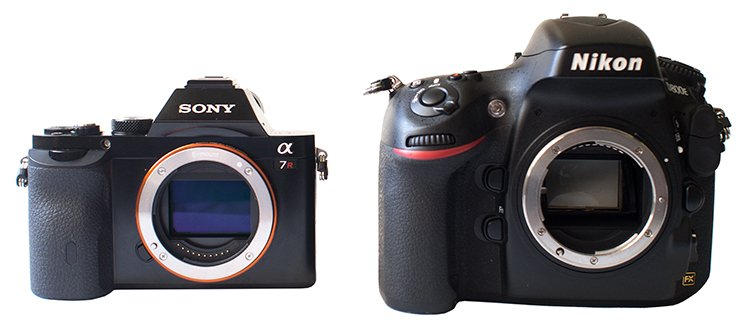 Sony A7r and Nikon D800e from the front