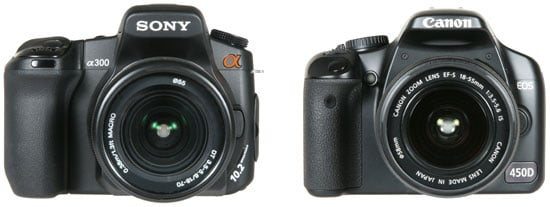 from left: Sony A300 and Canon EOS 450D/ Rebel XSi - front view