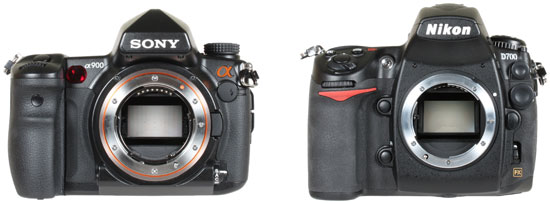 from left: Sony A900 and Nikon D700 - lens mount