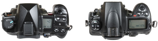 from left: Sony A900 and Nikon D700 - top view